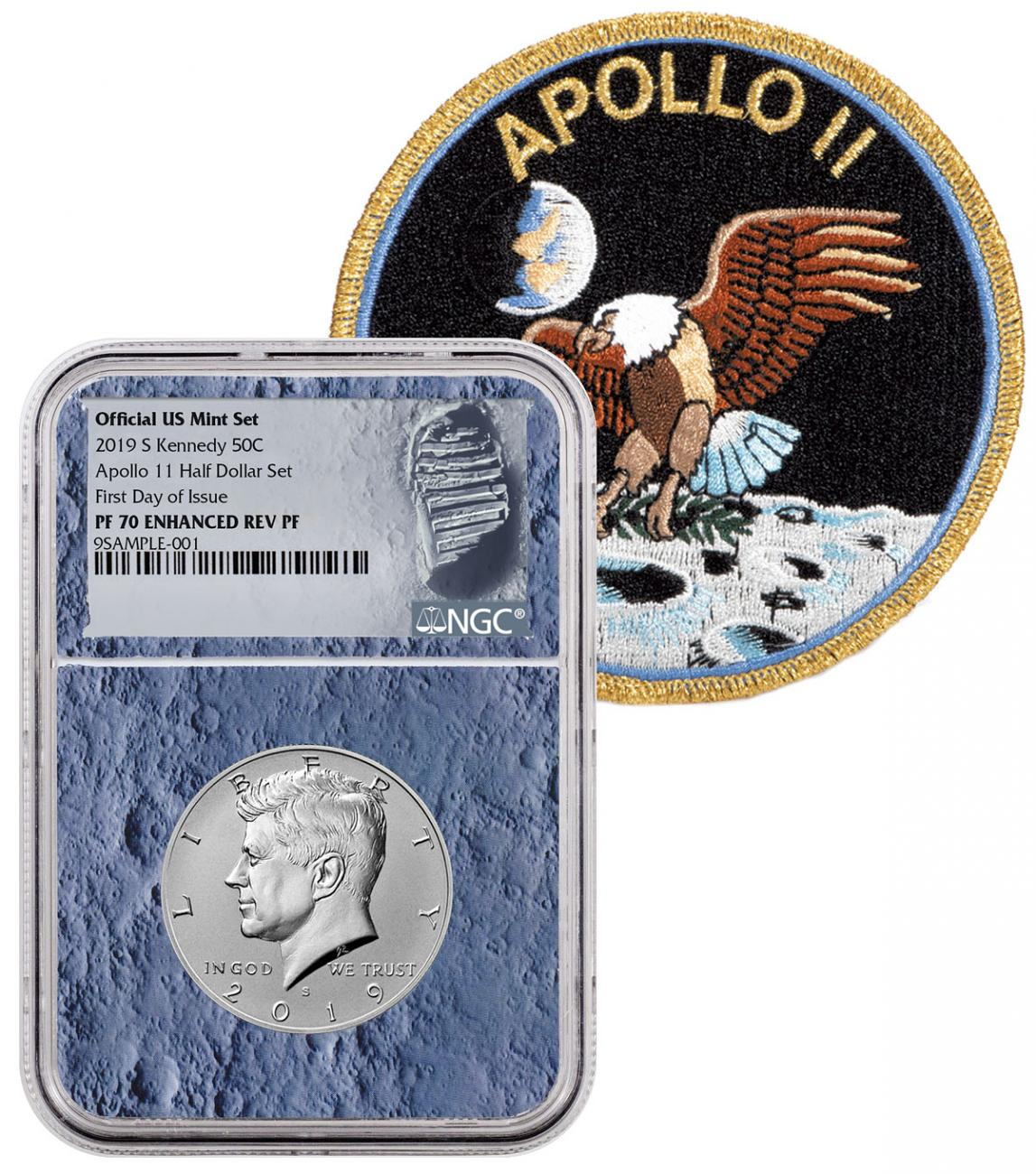 2019-S Cupronickel Enhanced Reverse Proof Kennedy Half Dollar From Apollo 11 Half Dollar Set NGC PF70 FDI With Apollo 11 Mission Patch Moon Core Holder Moon Label