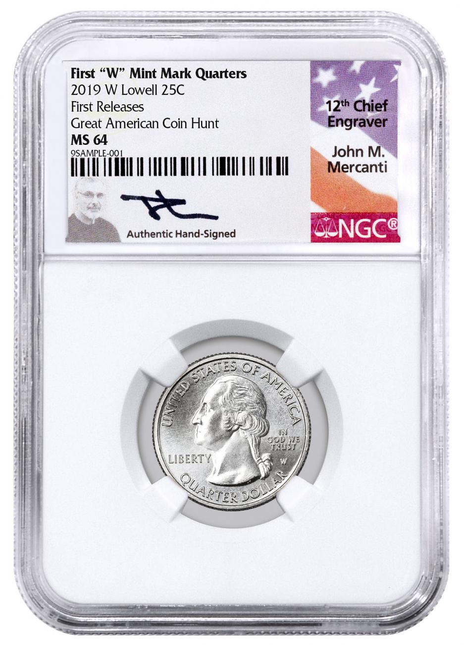 2019-W Lowell National Park America the Beautiful Quarter NGC MS64 FR Mercanti Signed Label