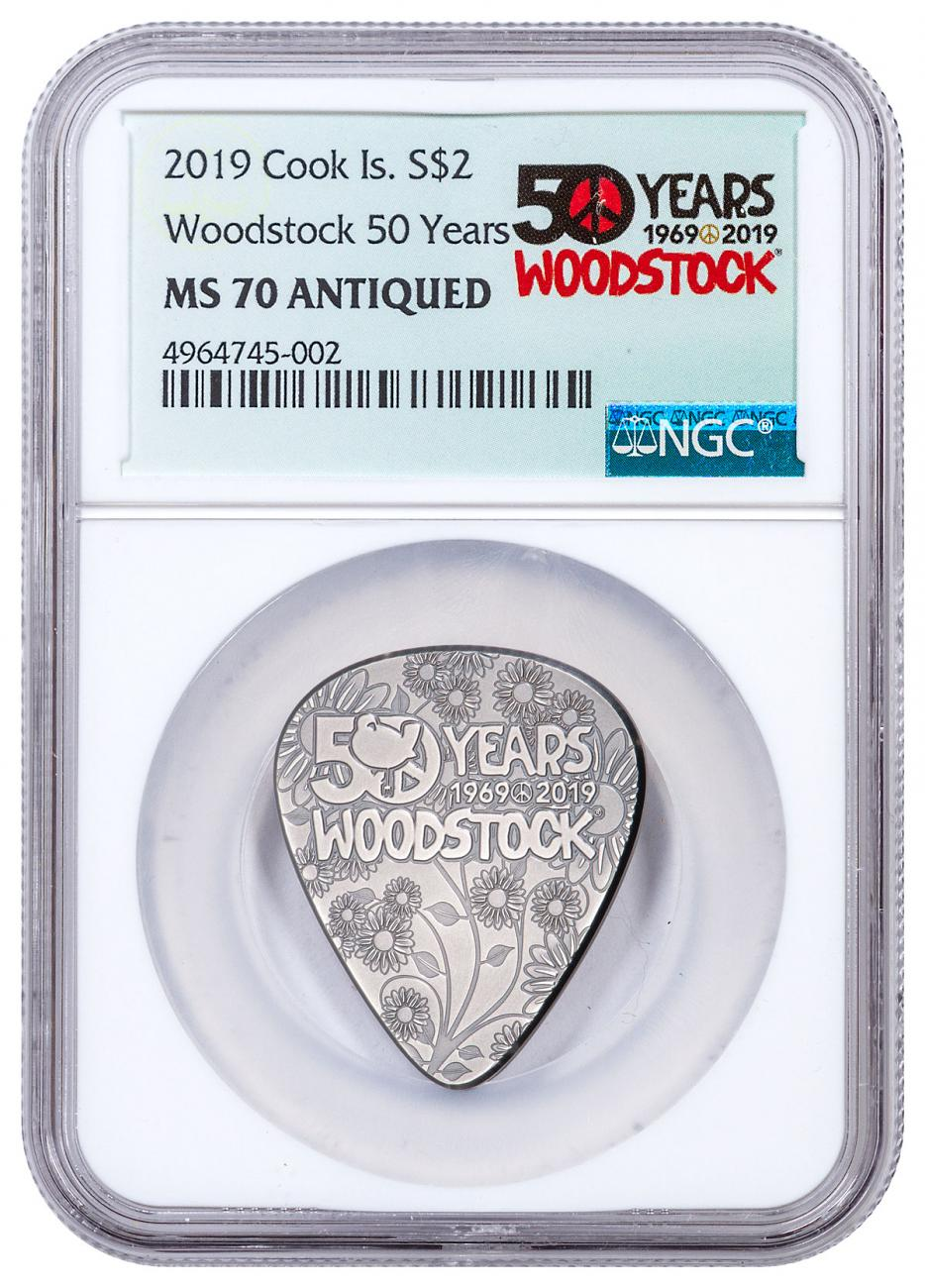 2019 Cook Islands Woodstock - Guitar Pick Shaped 1/4 oz Silver Antiqued $2 Coin NGC MS70 Exclusive Woodstock Label