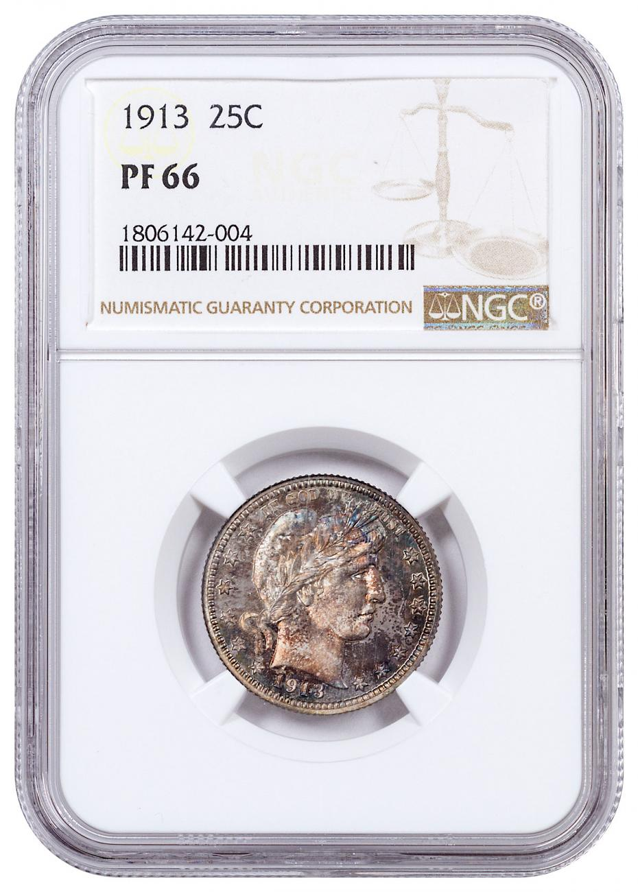 1913 Silver Proof Barber Quarter Toned NGC PF66