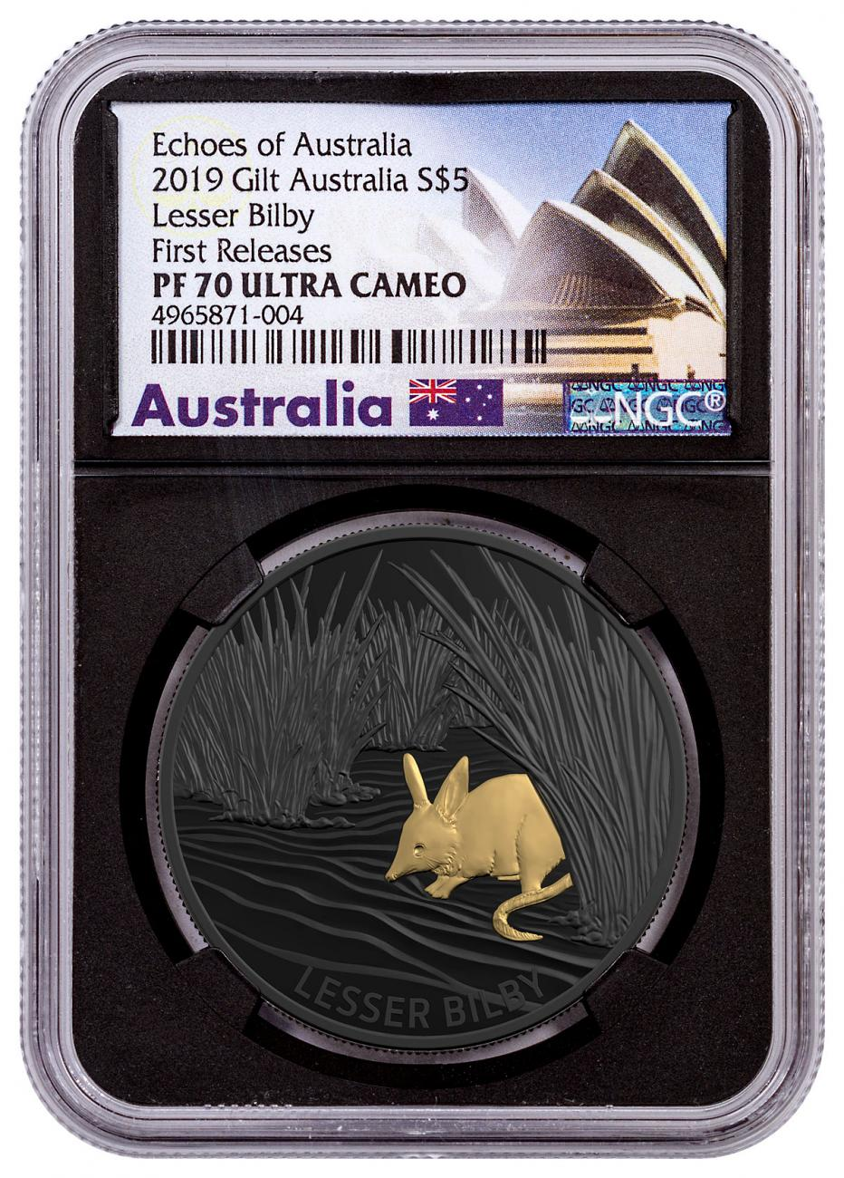 2019 Australia Echoes of Australia - Lesser Bilby 1 oz Silver Nickel-Plated Proof $5 Coin NGC PF70 UC FR OGP Exclusive Opera House LabeL