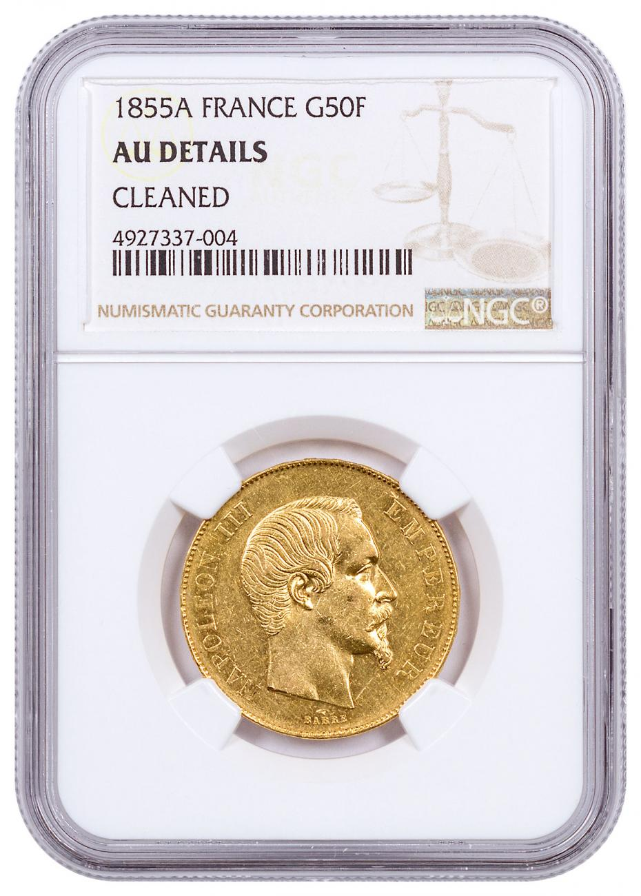 1855A France Napoleon III Gold Fr.50 Coin NGC AU Details