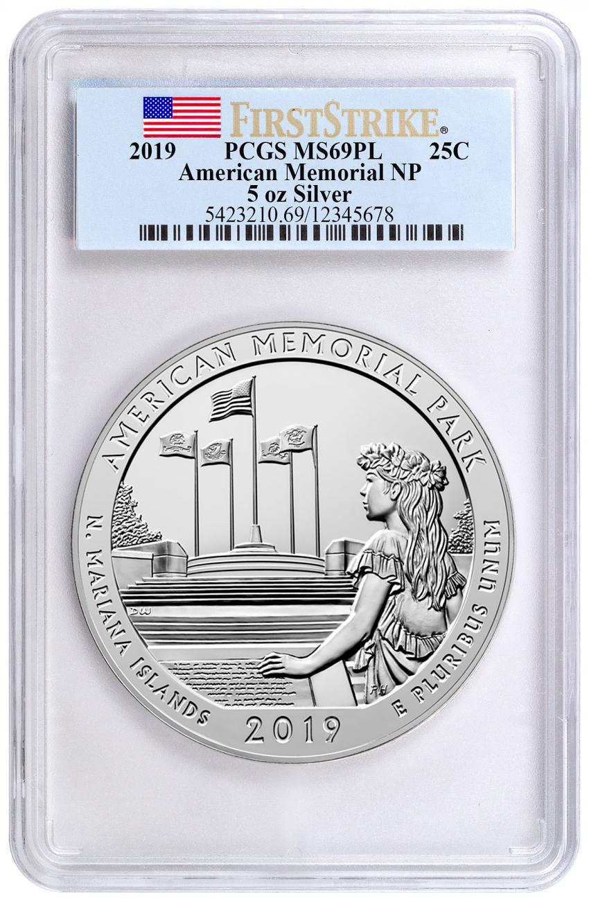 2019 American Memorial Park 5 oz. Silver America the Beautiful Coin PCGS MS69 PL FS