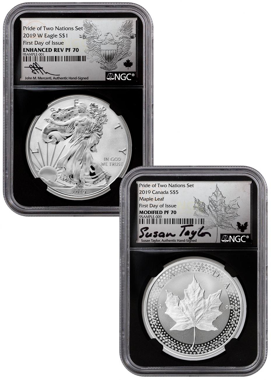 2019 W Enhanced Reverse Proof Silver Eagle NGC PF 70 Pride of Two Nations  FDI