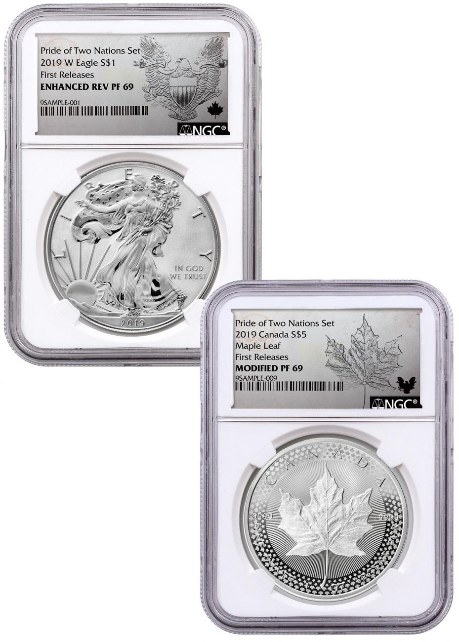 2019 United States & Canada 1 oz Silver Eagle & Maple Leaf - Pride of Two Nations 2-Coin Set NGC PF69 FR Exclusive Eagle & Maple Labels with OGP