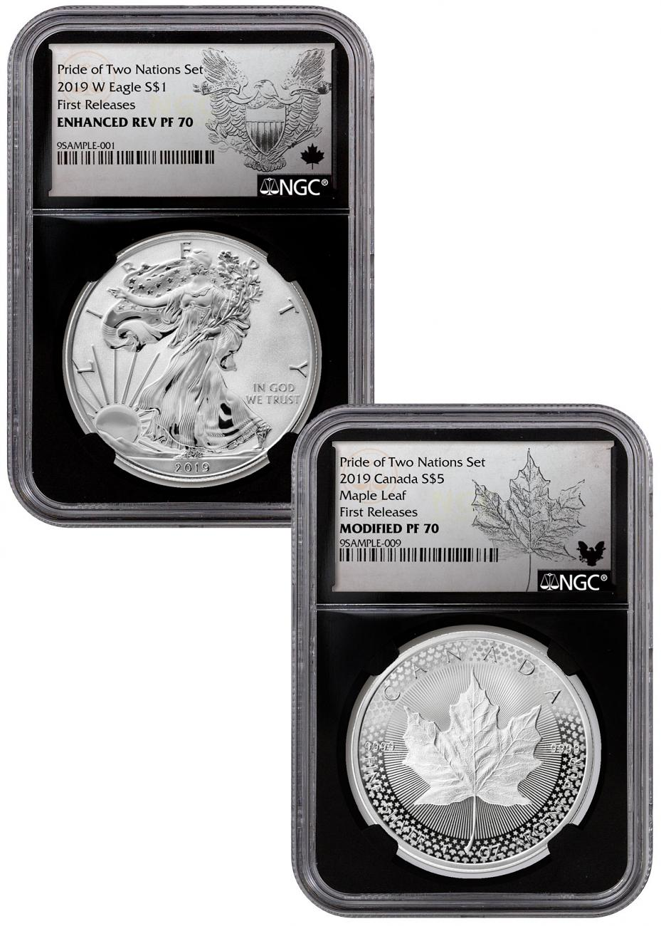 2019 United States & Canada 1 oz Silver Eagle & Maple Leaf - Pride of Two Nations 2-Coin Set NGC PF70 FR Black Core Holder Exclusive Eagle & Maple Labels with OGP