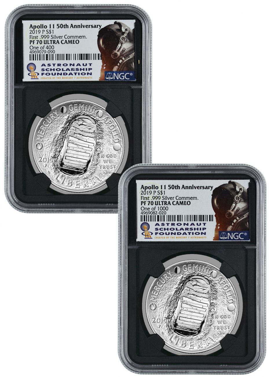 2-Piece Set - 2019-P US Apollo 11 50th Anniversary Commemorative Silver Dollar Proof Coins NGC PF70 UC Astronaut Scholarship Foundation Bobko & Haley Signed Labels