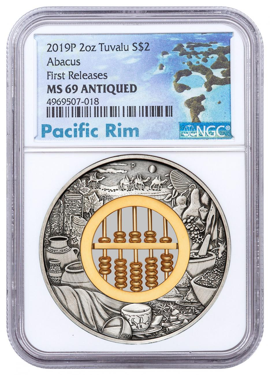 2019-P Tuvalu Abacus 2 oz Silver $2 Coin NGC MS69 FR Pacific Rim Label