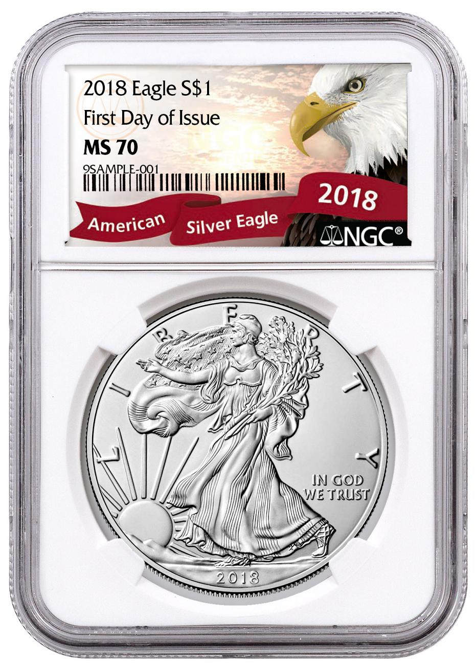 2018 American Silver Eagle NGC MS70 FDI Exclusive Eagle Label