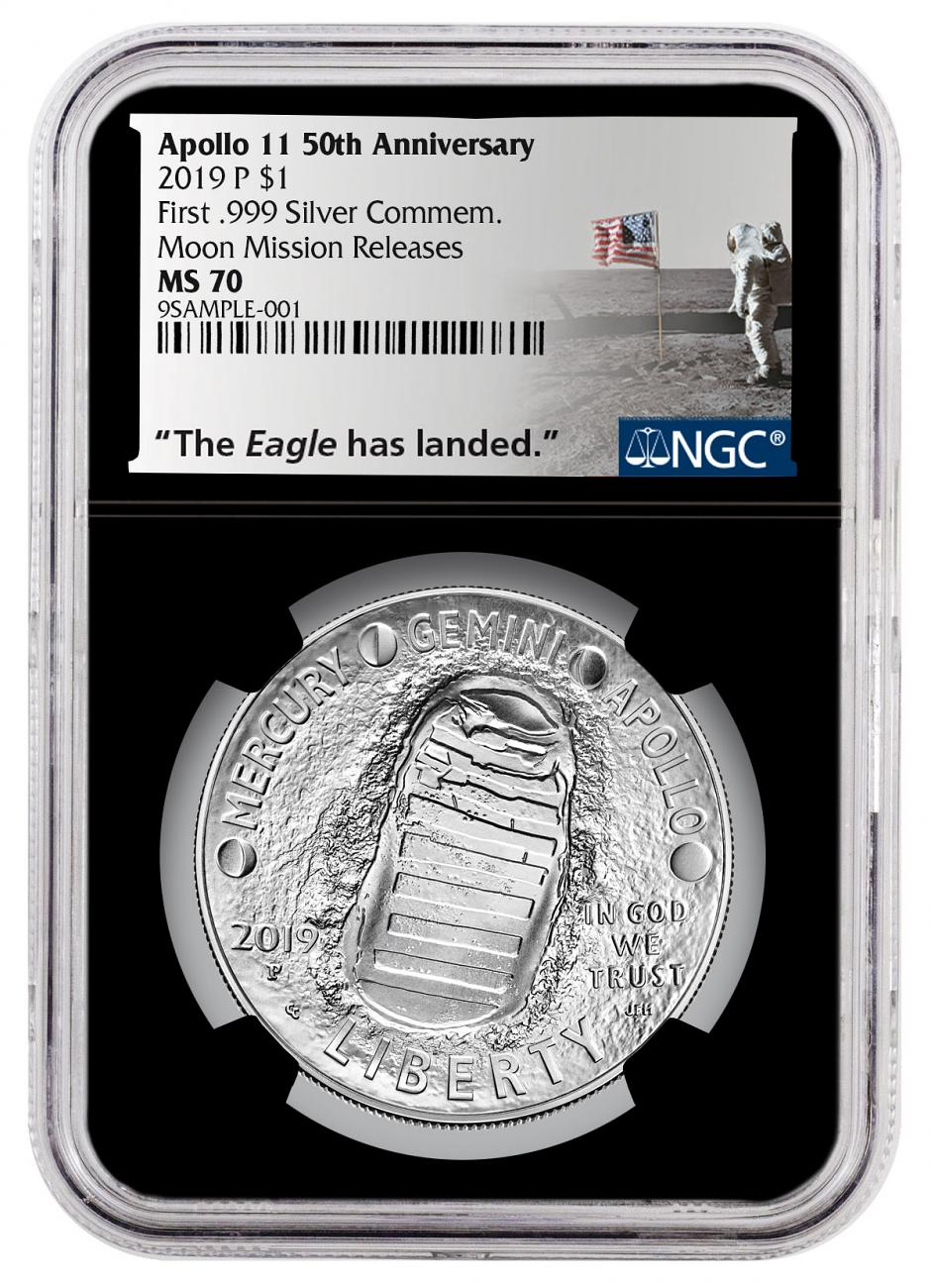 2019-P US Apollo 11 50th Anniversary Commemorative Silver Dollar Coin NGC MS70 Moon Mission Releases Black Core Holder