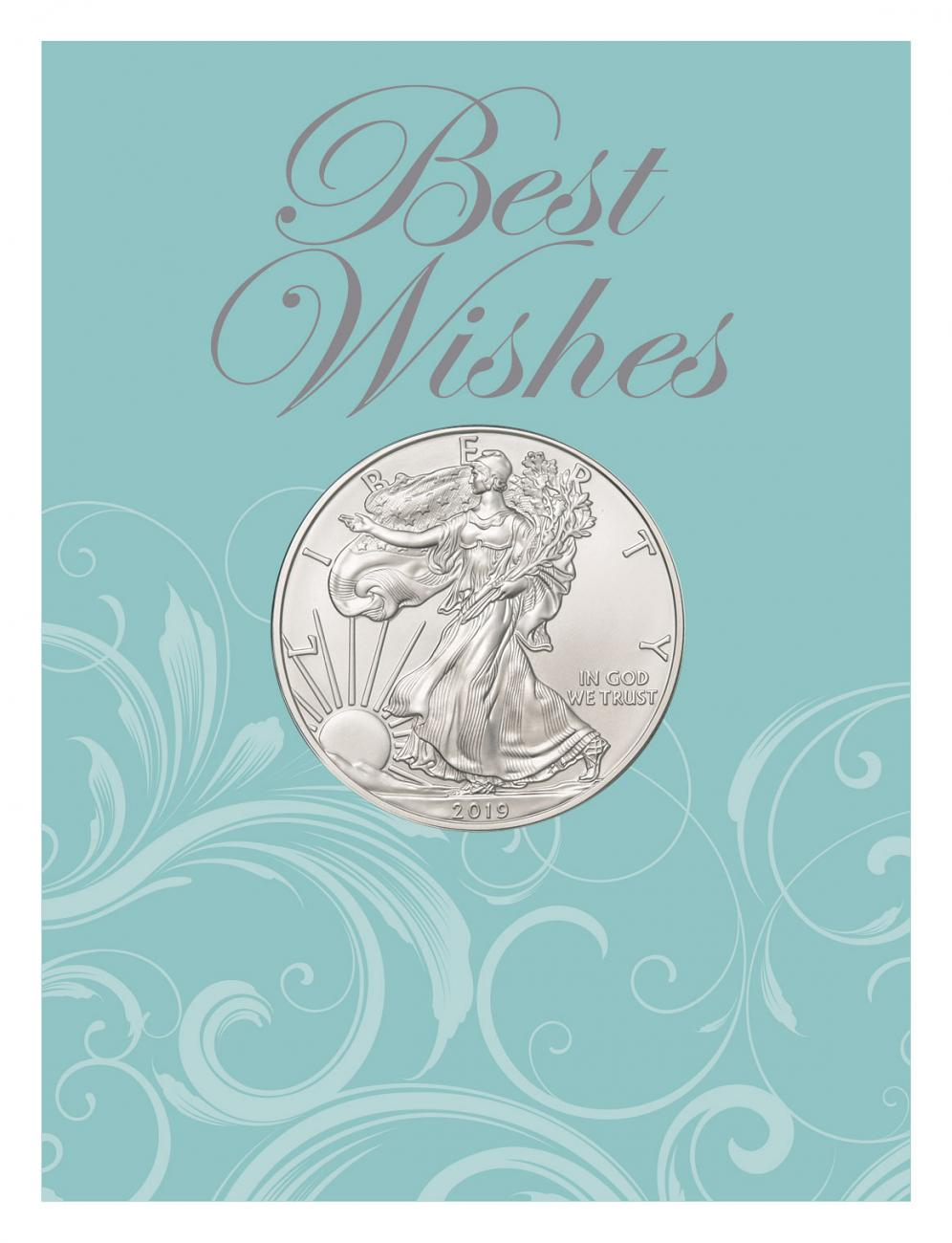 2019 American Silver Eagle BU Wedding Best Wishes Coin Card