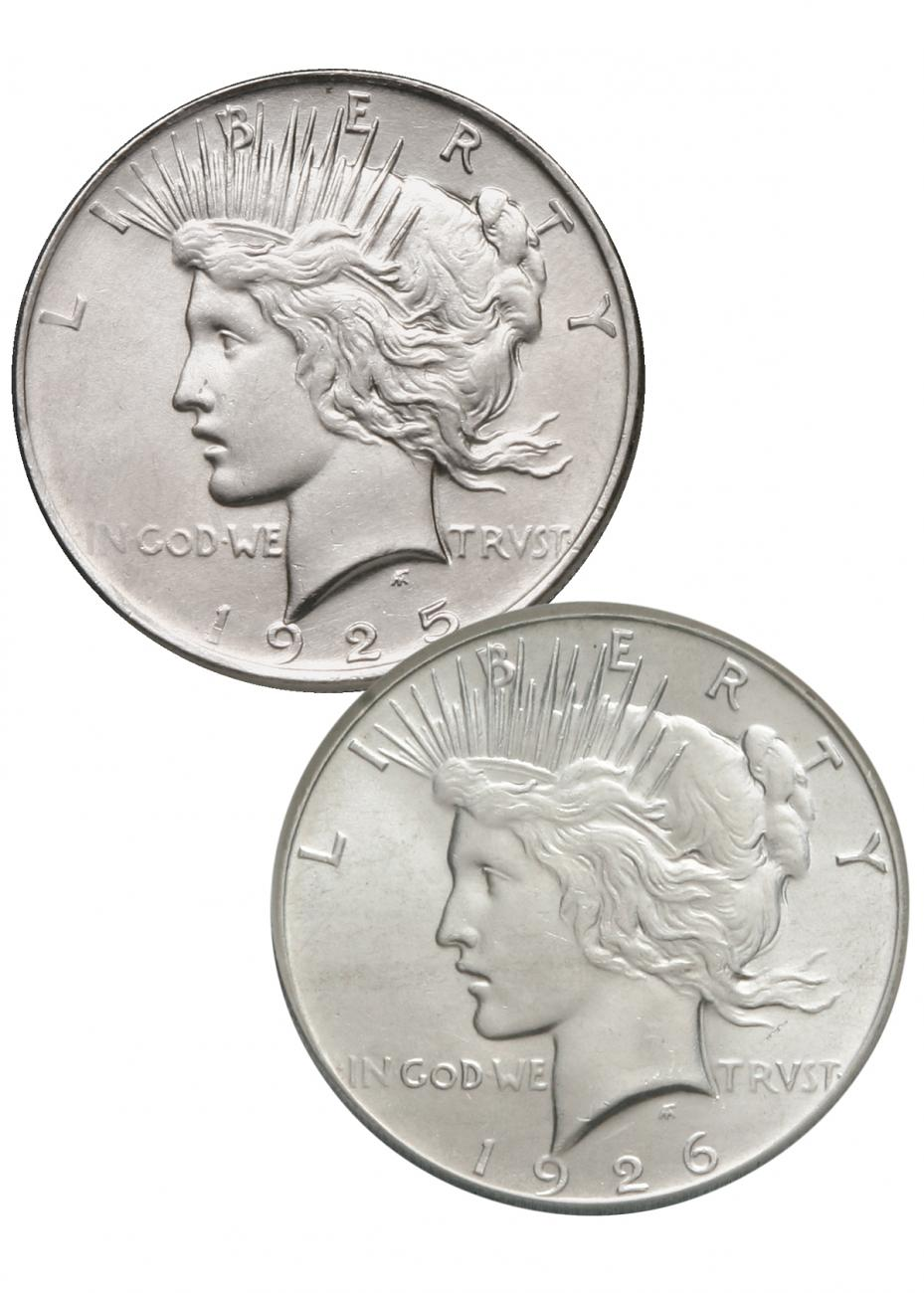 1925-1926 Silver 2-Coin Set The Almighty Peace Dollar BU