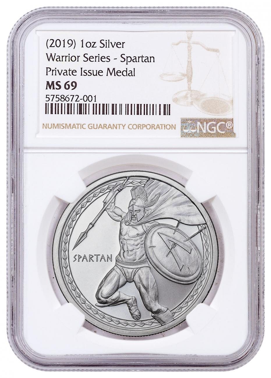 Golden State Mint Spartan 1 oz Silver Round NGC MS69