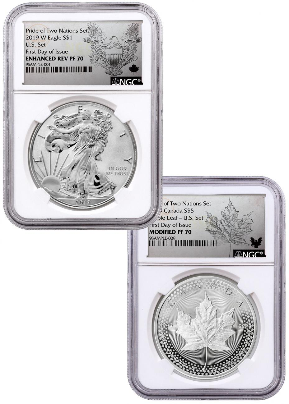 2019 United States & Canada 1-oz Silver Eagle & Maple Leaf - Pride of Two Nations 2-Coin US Mint Set NGC PF70 FDI Exclusive Eagle & Maple Labels with OGP