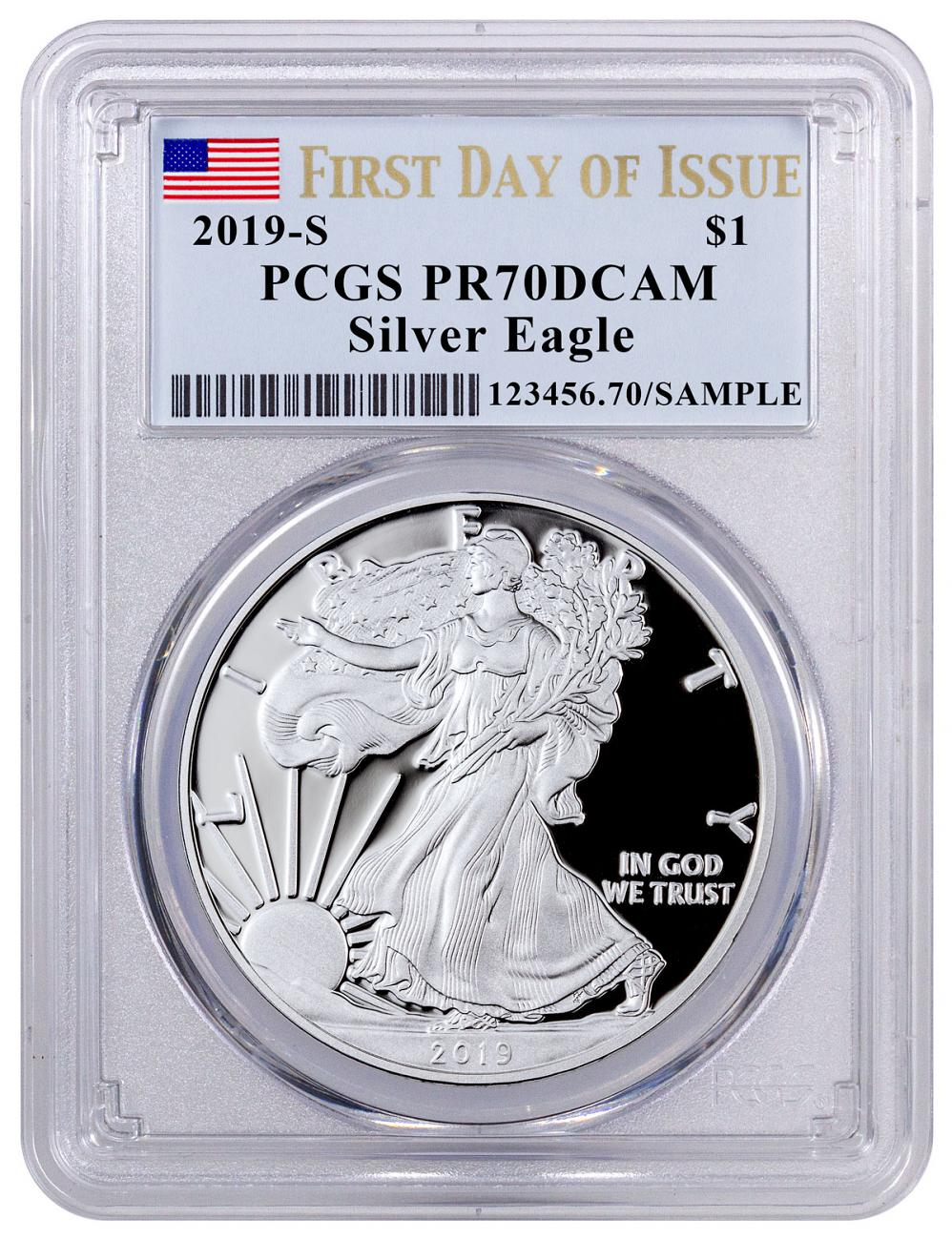 2019-S 1 oz Proof American Silver Eagle PCGS PR70 DCAM FDI Flag Label