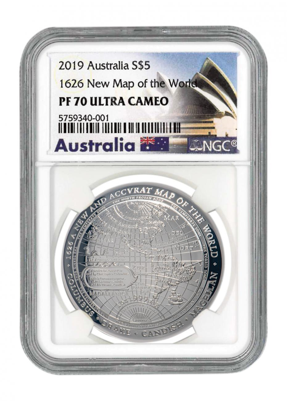 2019 Australia 1626 New Map of the World Domed 1 oz Silver Proof $5 Coin NGC PF70 UC