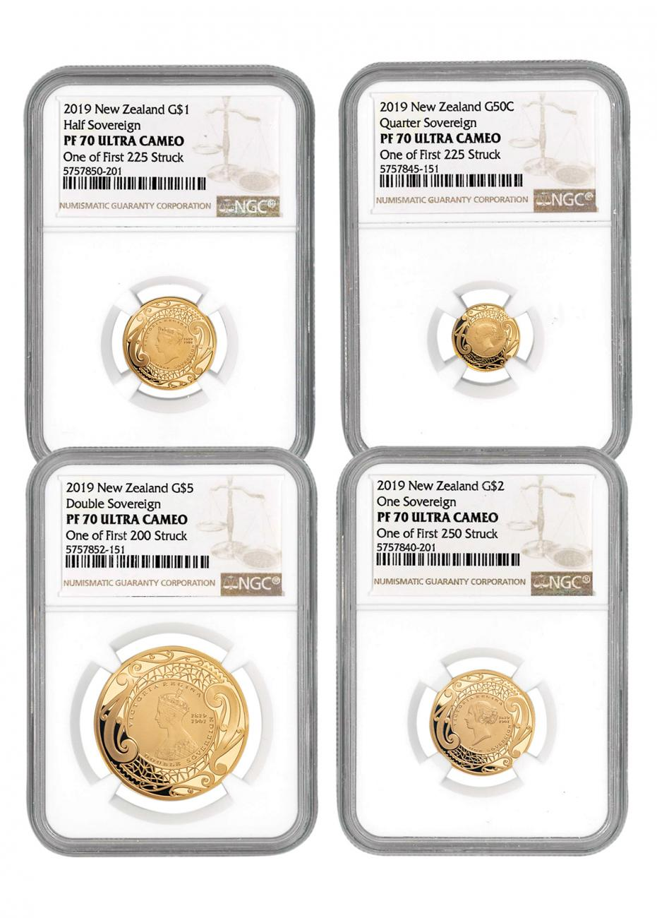 4-Piece Set - 2019 New Zealand Gold Sovereign Proof Coins Scarce and Unique Coin Division NGC PF70 UC FS One of First Struck