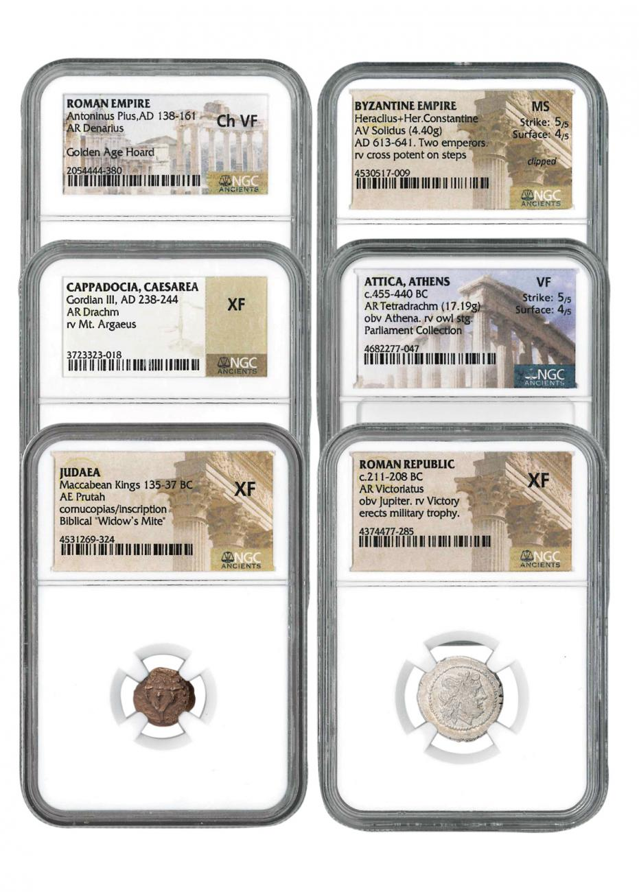 6-Coin Set - Ancient Coins Type Set Collection Scarce and Unique Coin Division Premiere Edition NGC Varies