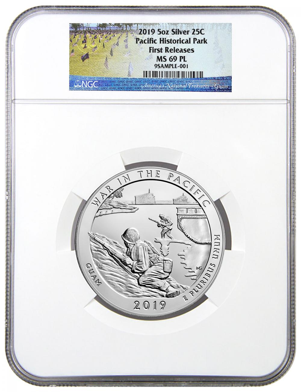 2019 25C 5 oz. Silver ATB War in the Pacific National Historic Park (Guam) Coin NGC MS69 PL FR