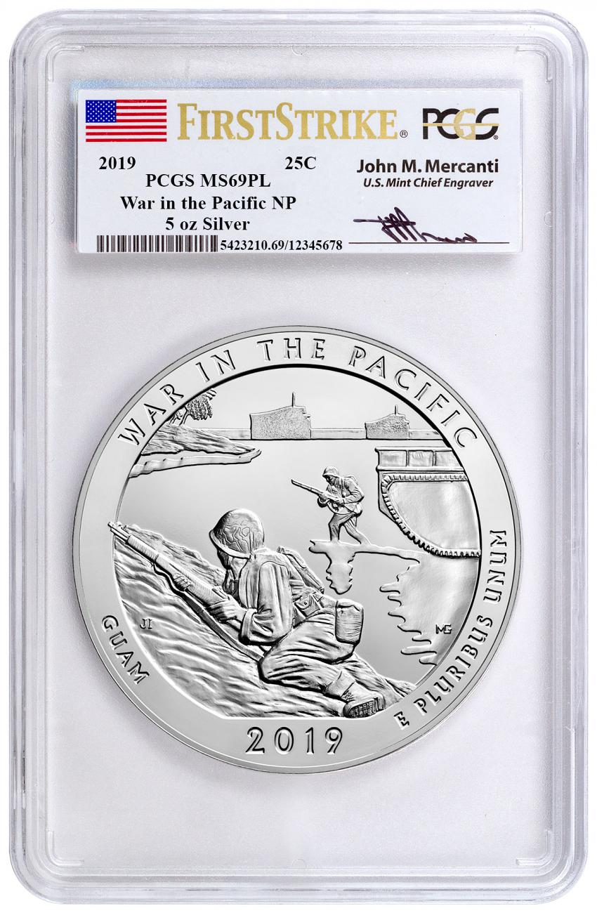 2019 25C 5 oz. Silver ATB War in the Pacific National Historic Park (Guam) Coin PCGS MS69 PL First Strikes Mercanti Signed Label