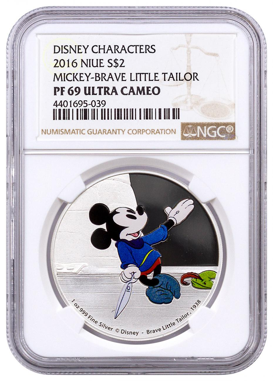 2016 Niue Mickey Through the Ages - Brave Little Tailor 1 oz Silver Colorized Proof $2 NGC PF69 UC