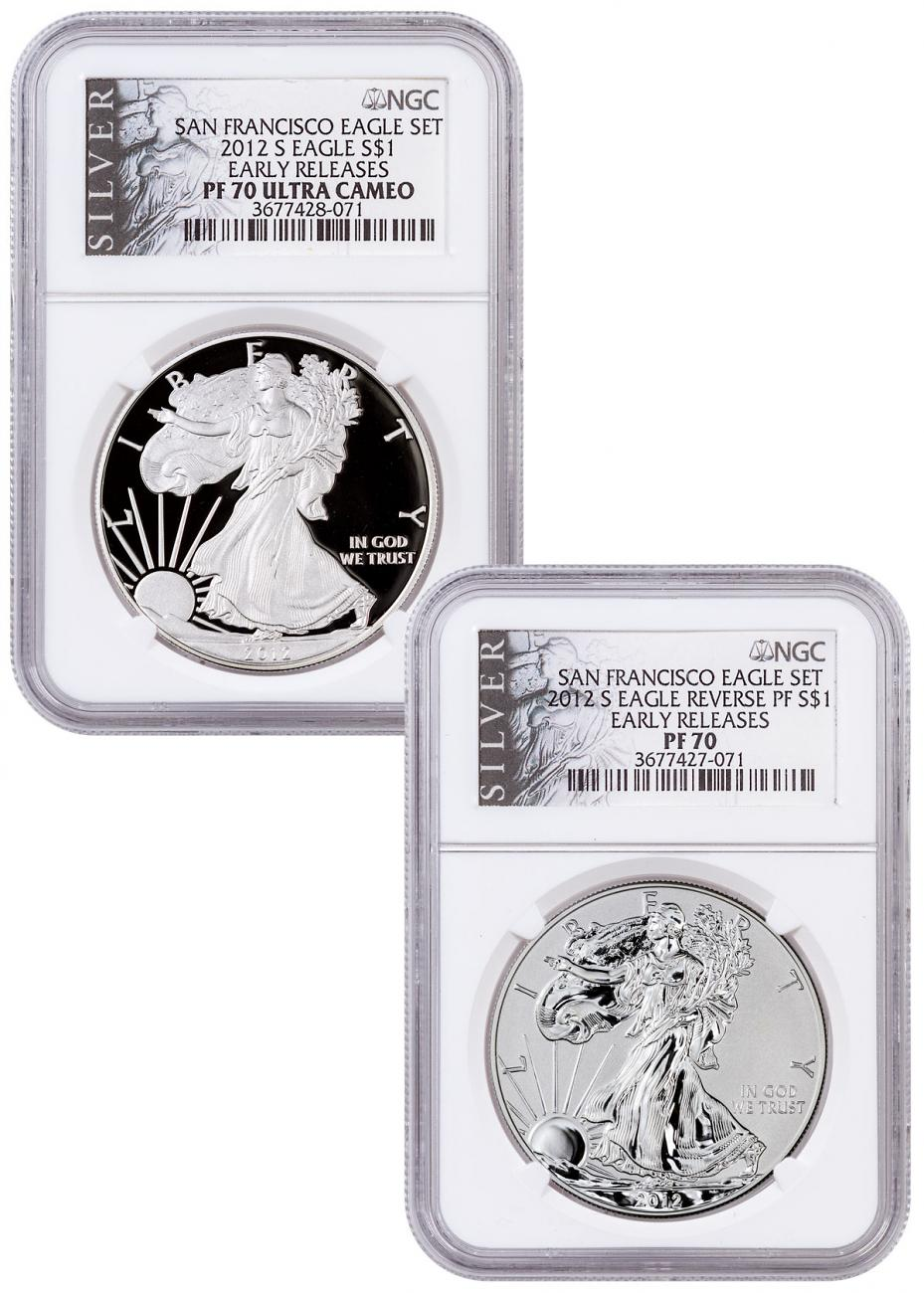 2012-S NGC PF70 Ultra Cameo Reverse Proof Silver Eagle San Francisco