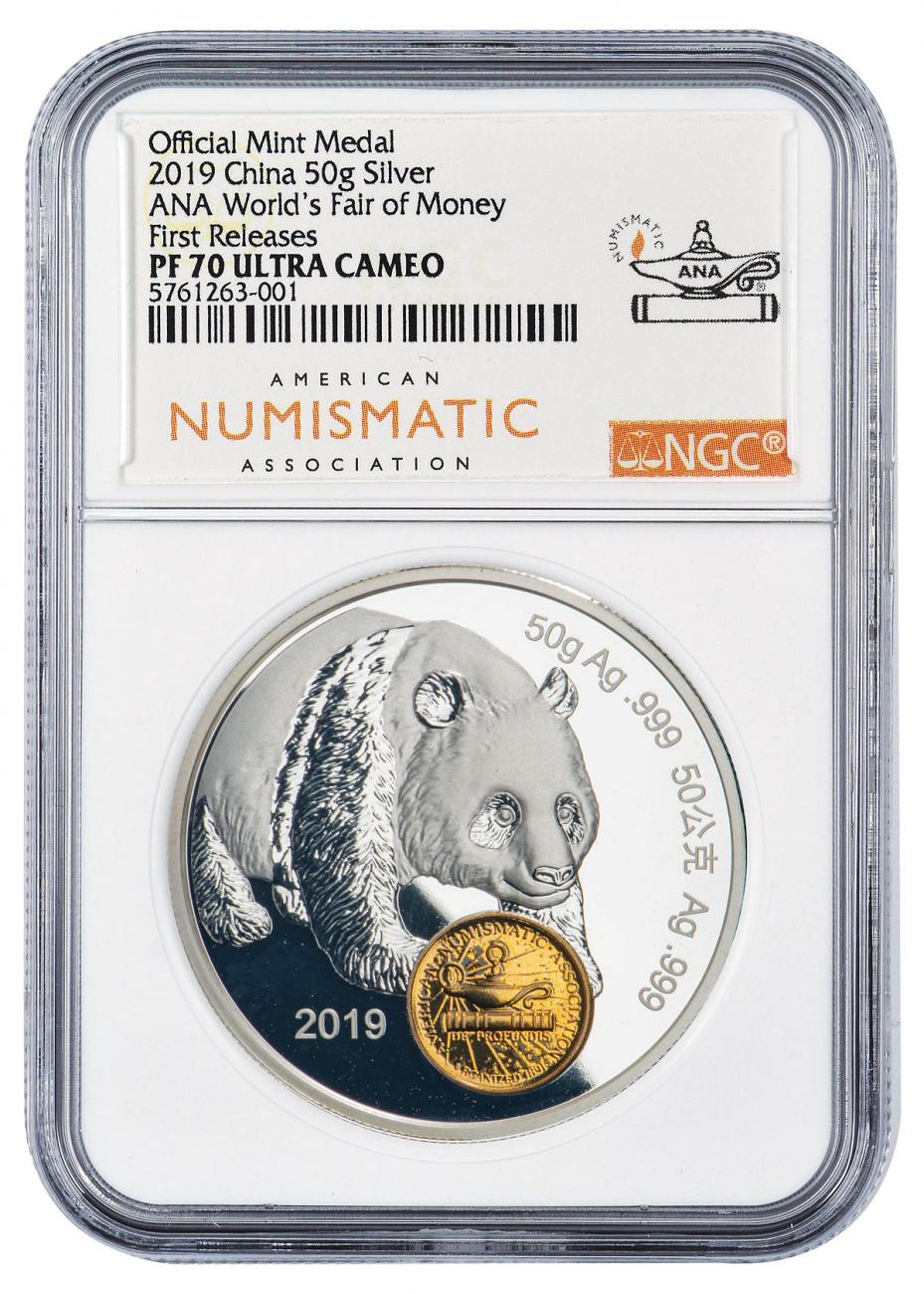 2019 China Chicago World's Fair of Money Show Panda 50 g Silver Proof Medal NGC PF70 UC FR