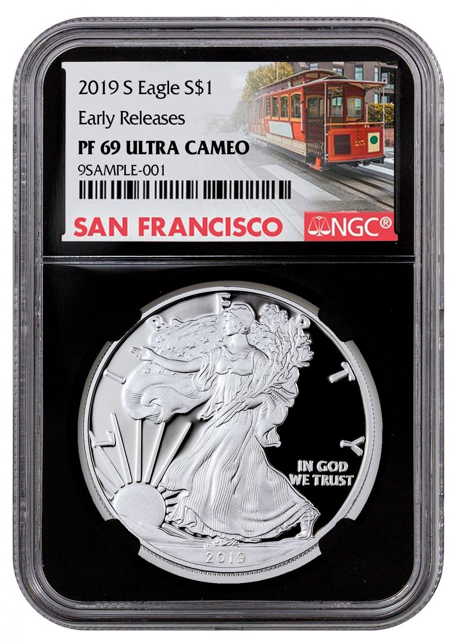 2019-S 1 oz Proof American Silver Eagle NGC PF69 UC ER Black Core Holder San Francisco Trolley Label