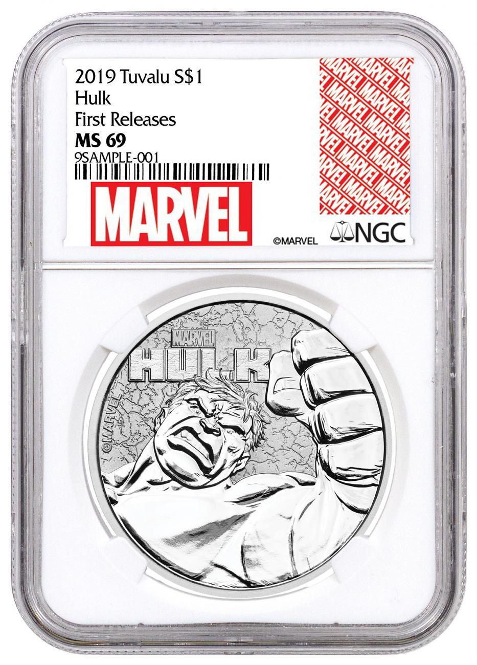 2019 Tuvalu Hulk 1 oz Silver Marvel Series $1 Coin NGC MS69 FR Marvel Series Label