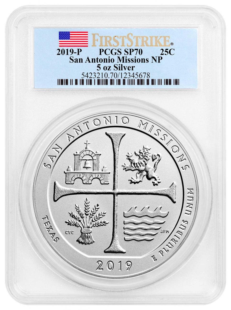 2019-P San Antonio Missions Historical Park 5 oz. Silver America the Beautiful Specimen Coin PCGS SP70 FS Flag Label