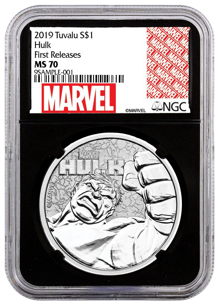 2019 Tuvalu Hulk 1 oz Silver Marvel Series $1 Coin NGC MS70 FR Black Core Holder Marvel Series Label
