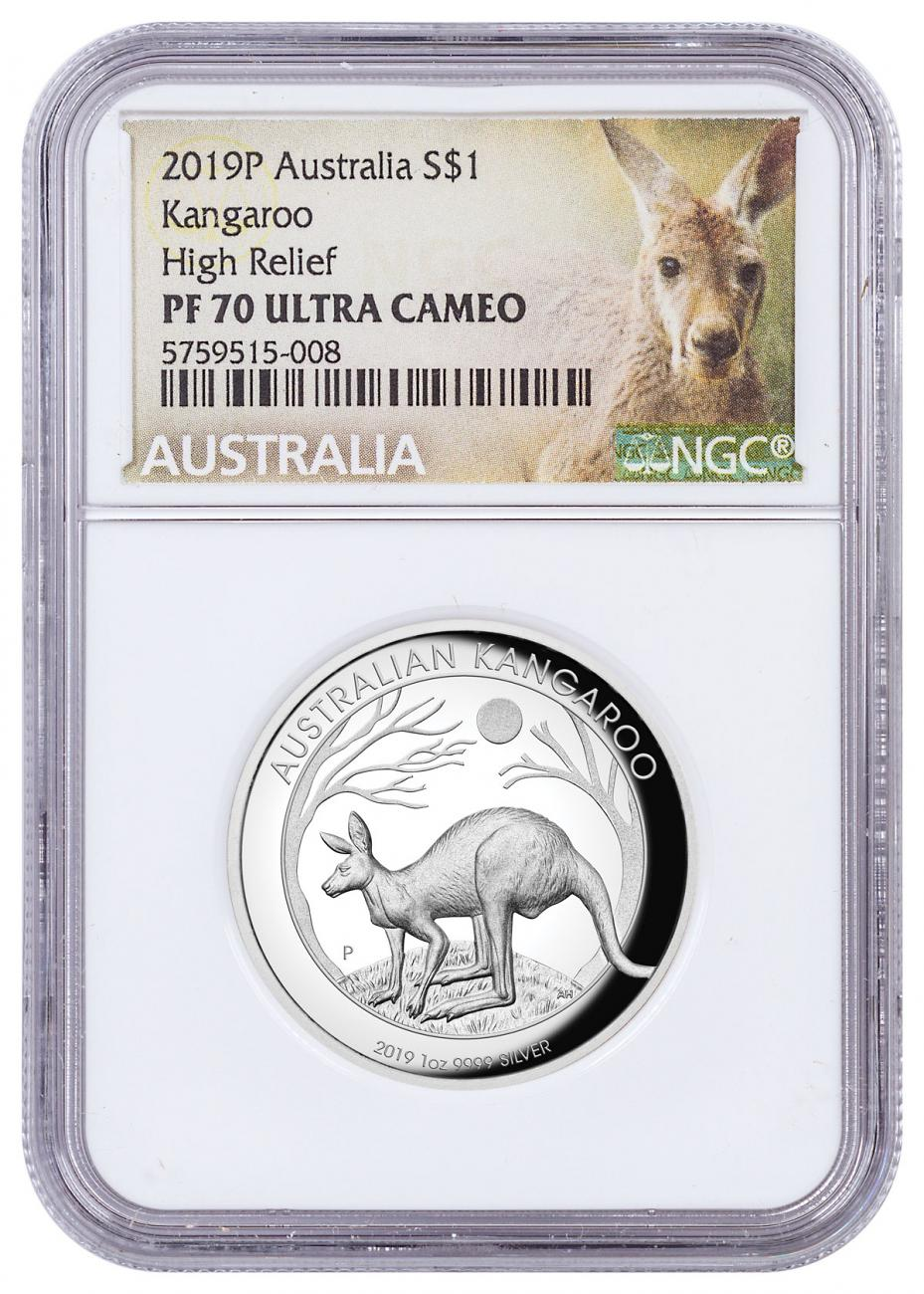 2019-P Australia 1 oz High Relief Silver Kangaroo Proof $1 Coin NGC PF70 UC Kangaroo Label