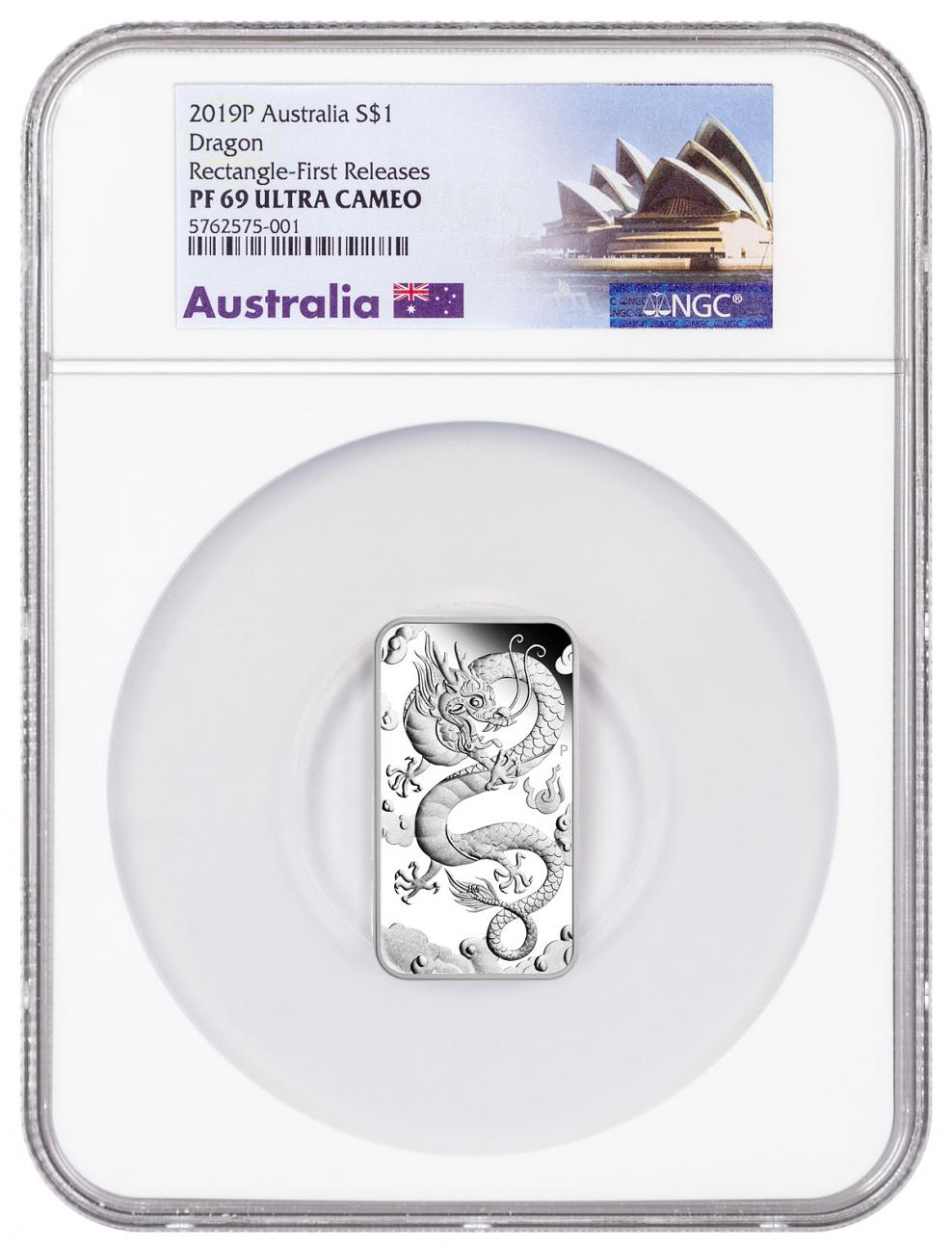 2019-P Australia 1 oz Rectangular Silver Dragon Bar Proof $1 Coin NGC PF69 UC FR Opera House Label