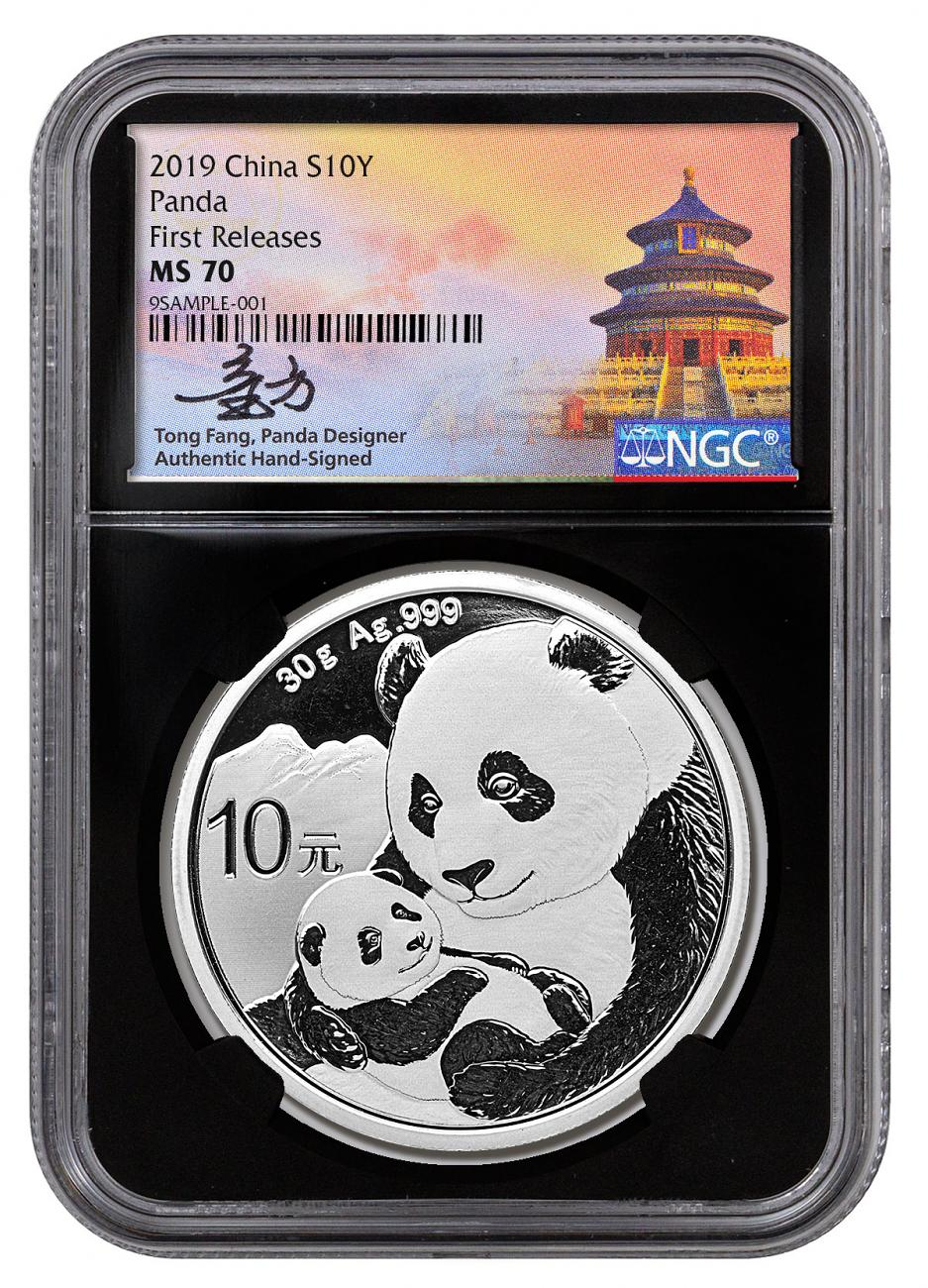 2019 China 30 g Silver Panda ¥10 Coin NGC MS70 FR Black Core Holder Tong Fang Signed Label