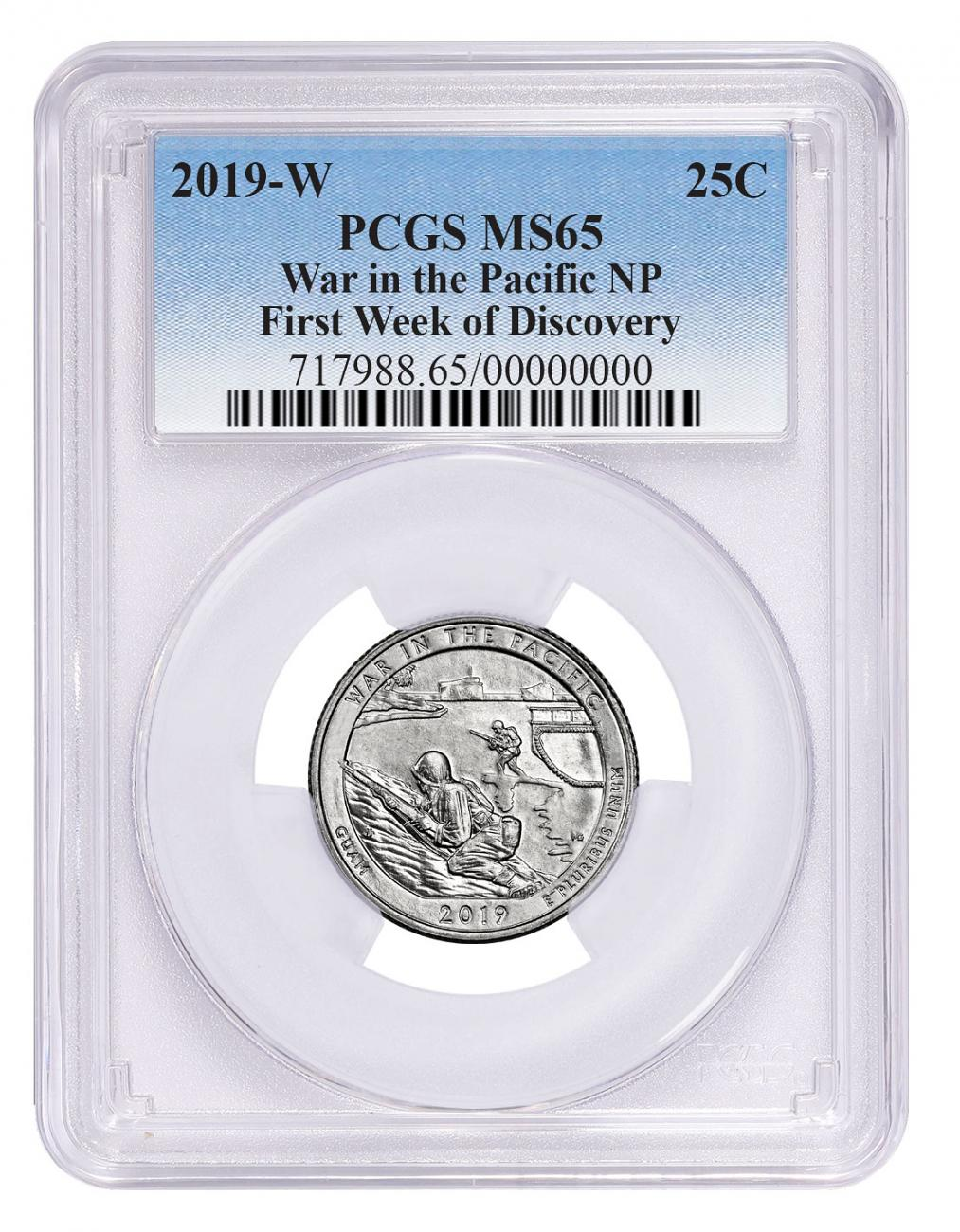 2019-W Clad War in the Pacific - Guam America the Beautiful Quarter PCGS MS65 First Week Issue Blue Label