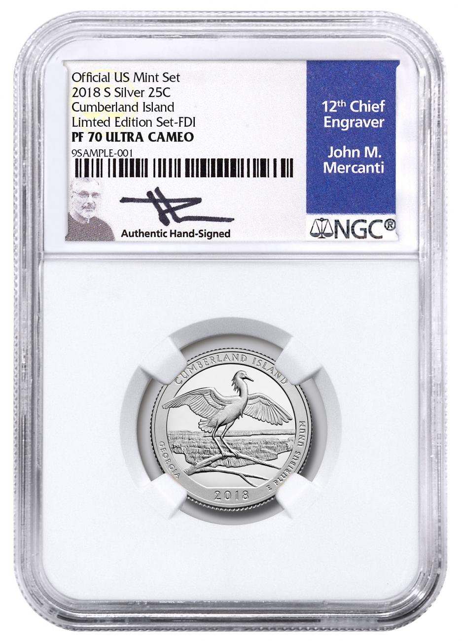 2018-S Silver Cumberland Island Proof America the Beautiful Quarter From Limited Edition Silver Proof Set NGC PF70 UC FDI Mercanti Signed Blue Label