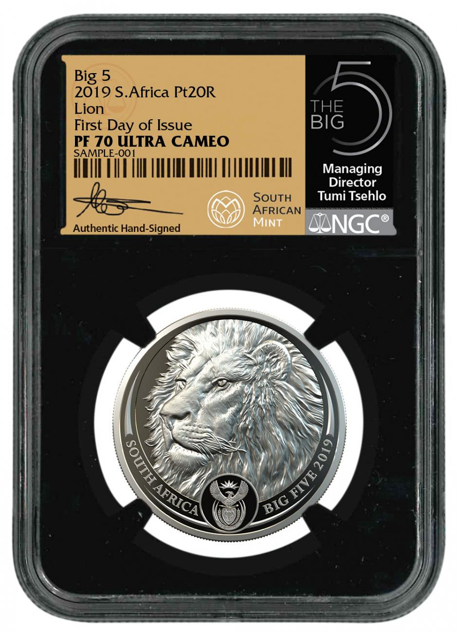 2019 South Africa 1 oz. Platinum R20 Big 5 Lion Scarce and Unique Coin Division NGC PF70 UC FDI Tumi Signature Label