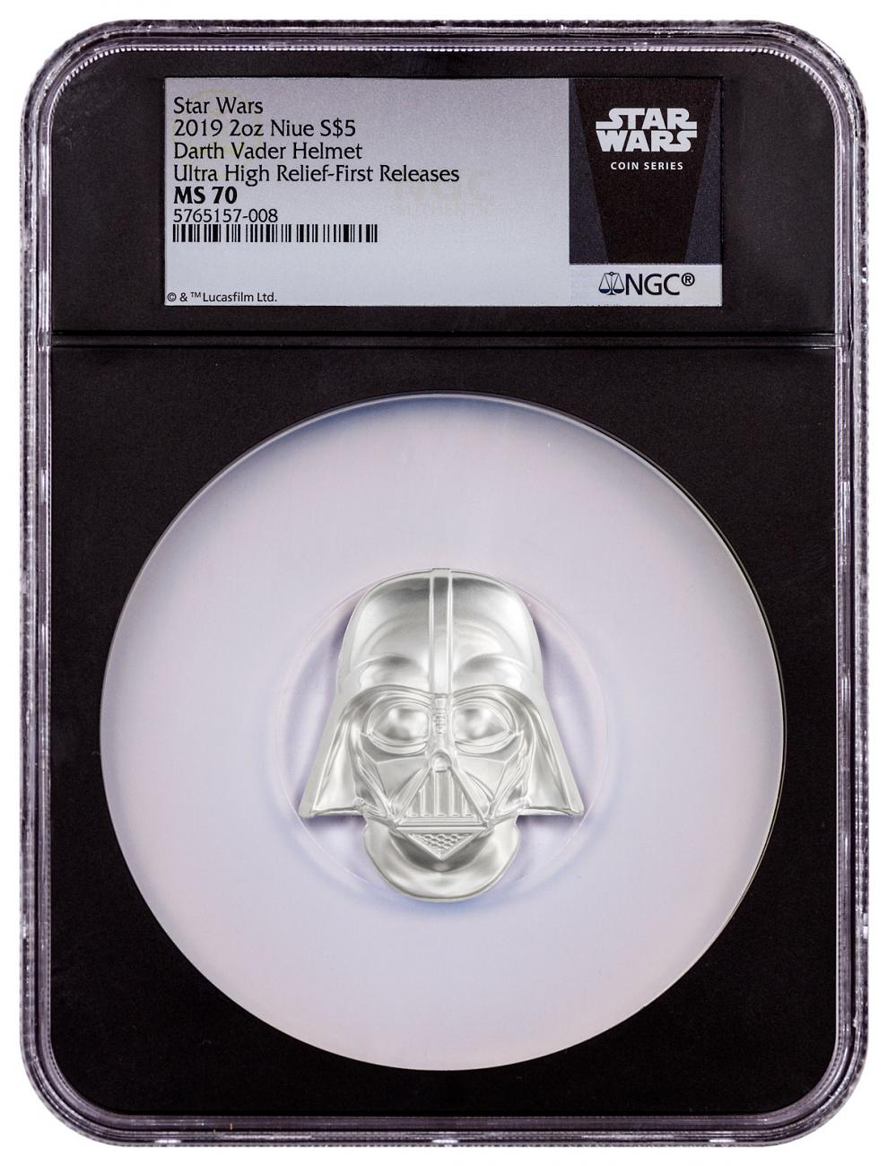 2019 Niue Star Wars - Darth Vader Ultra High Relief Helmet Shaped 2 oz Silver $5 Coin NGC MS70 FR Black Core Holder Exclusive Star Wars Label