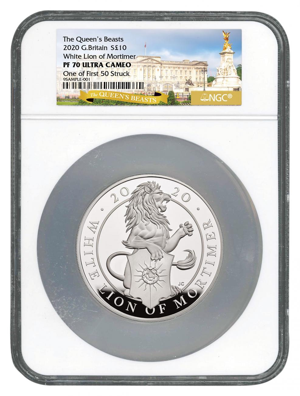 2020 Great Britain 10 oz Silver Queen's Beasts White Lion of Mortimer £10 Coin Scarce and Unique Coin Division NGC PF70 UC One of First 50 Struck Storycard & COA