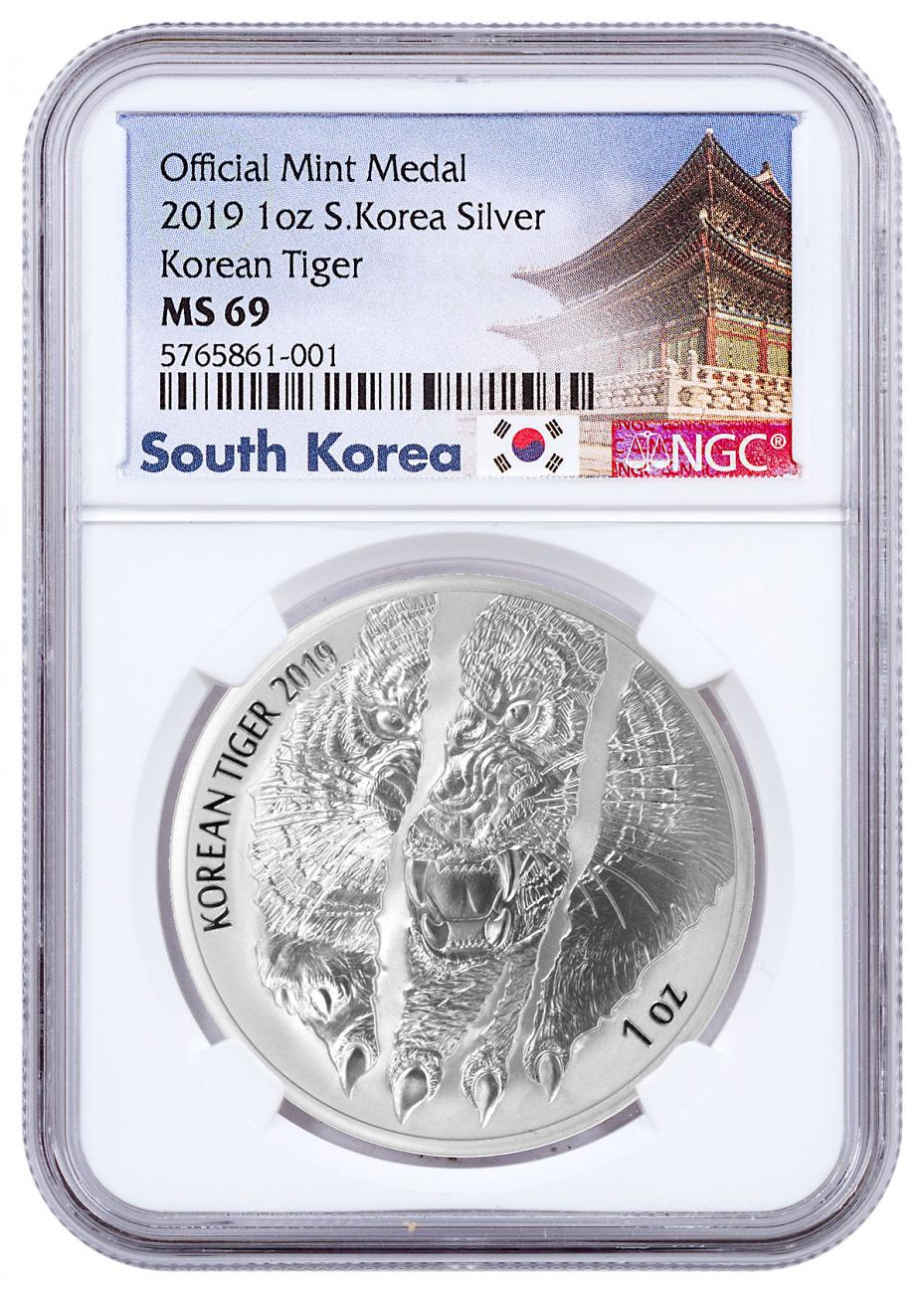 2019 South Korea 1 oz Silver Tiger Medal NGC MS69 Exclusive South Korea Label