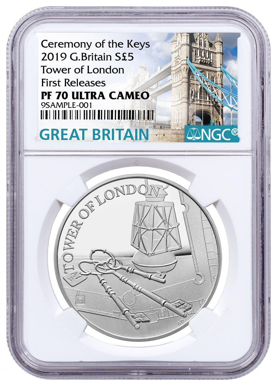 2019 Great Britain Tower of London - The Keys Silver Proof £5 Coin NGC PF70 UC FR Tower Bridge Label
