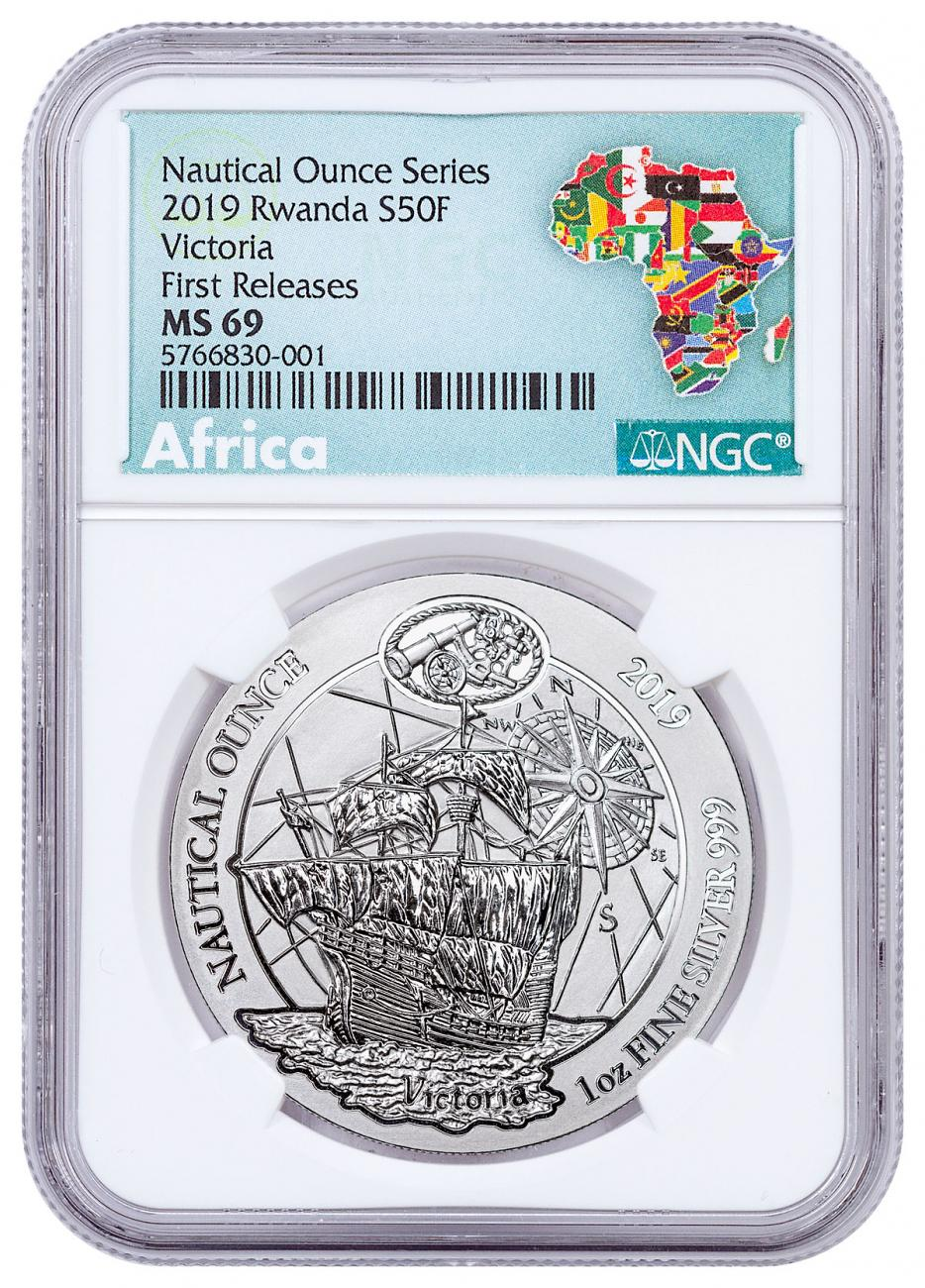 2019 Rwanda Nautical Ounces - 500th Anniversary of Victoria 1 oz Silver RWF Franc50 Coin NGC MS69 FR Exclusive Africa Label