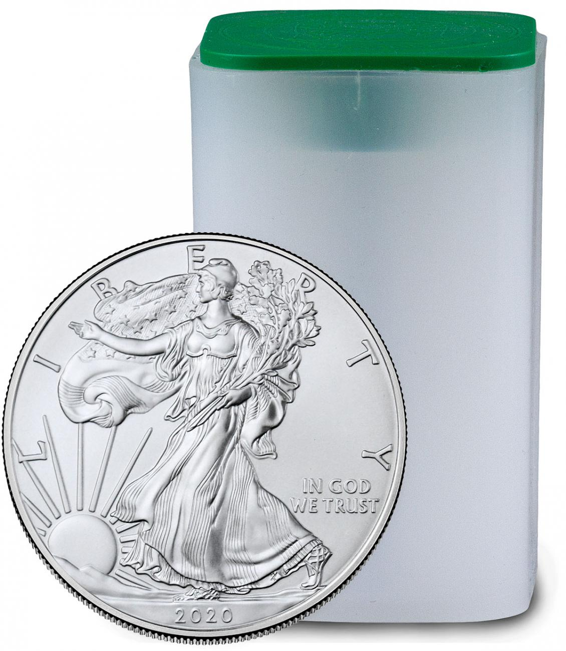 Roll of 20 - 2020 1 oz American Silver Eagle $1 Coins GEM BU