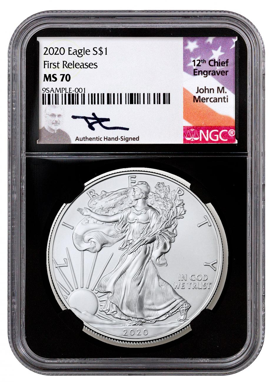 2020 1 oz American Silver Eagle $1 Coin NGC MS70 FR Black Core Holder Mercanti Signed Label