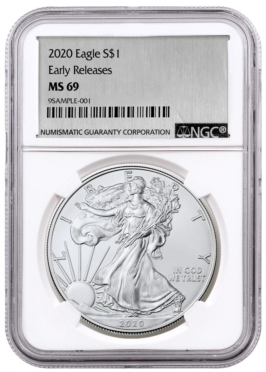 2020 1 oz American Silver Eagle $1 Coin NGC MS69 ER Silver Foil Label