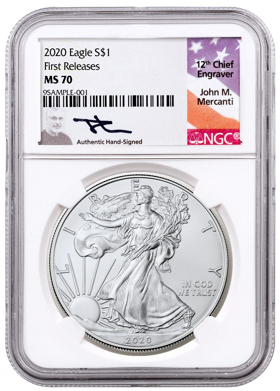 2020 1 oz American Silver Eagle $1 Coin NGC MS70 FR Mercanti Signed Label