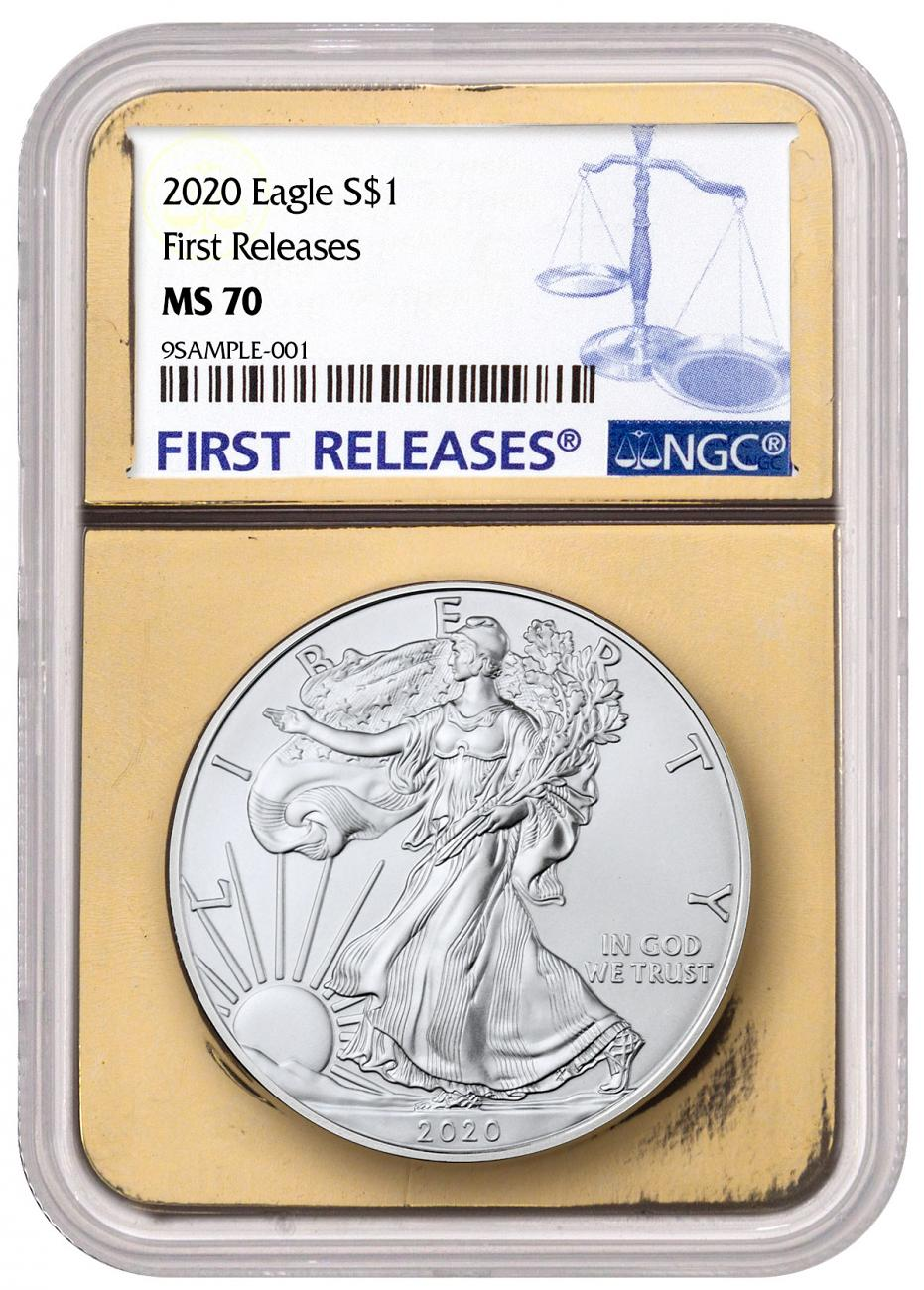 2020 1 oz American Silver Eagle $1 Coin NGC MS70 FR Gold Foil Core First Releases Label
