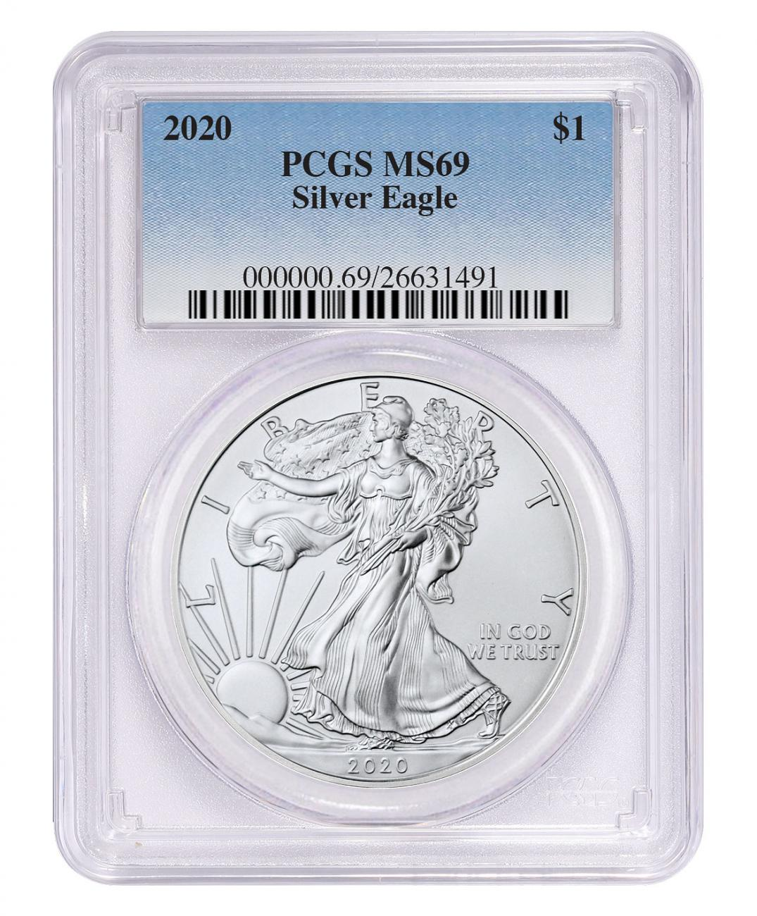2020 1 oz American Silver Eagle $1 Coin PCGS MS69