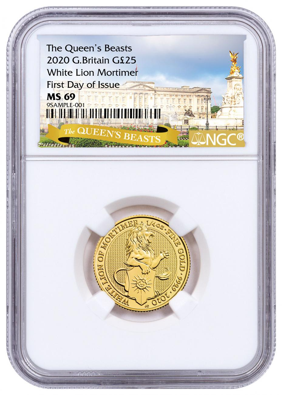 2020 Great Britain 1/4 oz Gold Queen's Beasts - White Lion of Mortimer £25 Coin NGC MS69 FDI Exclusive Queen's Beasts Label