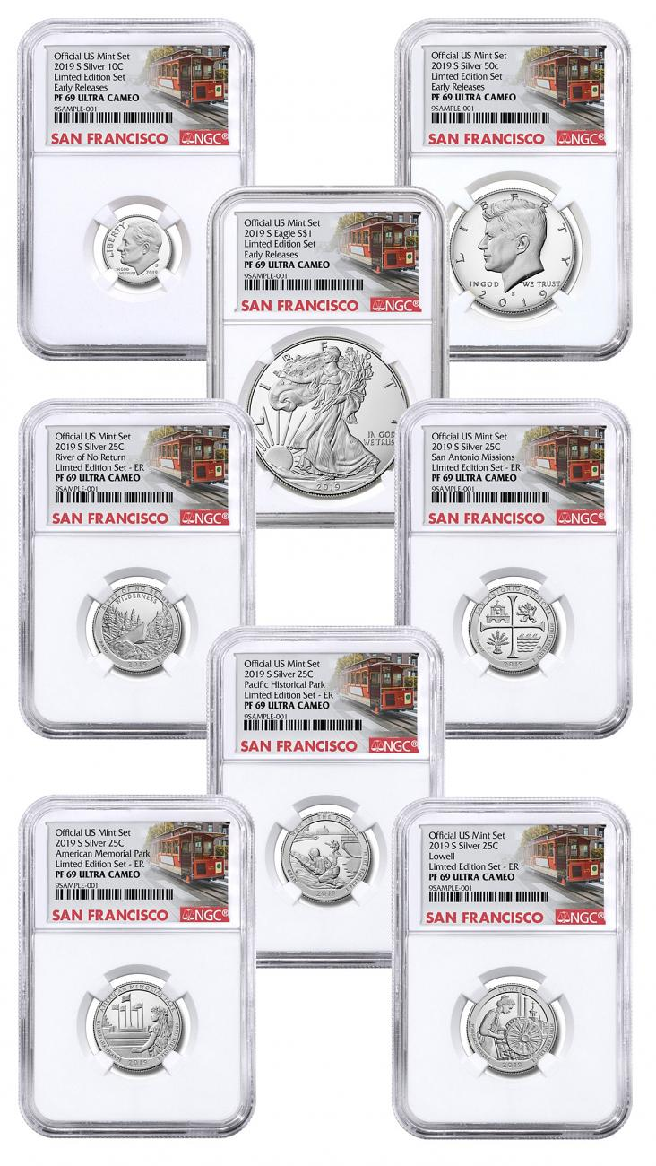 8-Coin Set - 2019-S U.S. Limited Edition Silver Proof Coins Set NGC PF69 UC ER San Francisco Cable Car Label